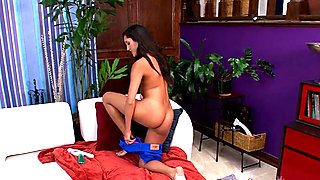 Petite latina Chloe Amour plays with a vibrator