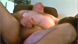 Chubby grandpa cums