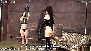 Japanese BDSM Punishment of Upside Down Masochist Slave