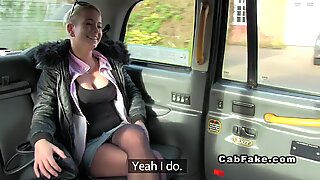 Busty Czech babe in fake taxi public busty