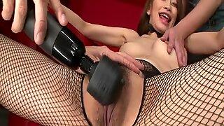 Devilish hot Japanese in fishnet pantyhose and lingerie gets her pussy hamerred