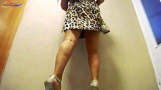 Big Boobs Girl Raises Hem of Dress - Shows Lingerie