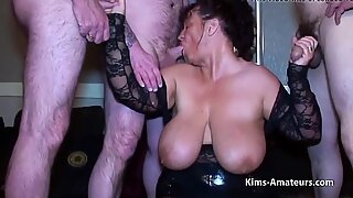 Feeling Kims ample tits while being sucked off