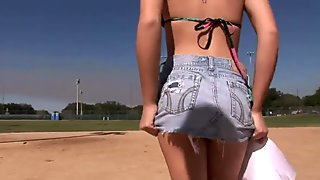 getting naked on a baseball field
