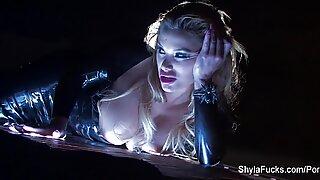 buxomy blonde Shyla's smoking scorching taunt