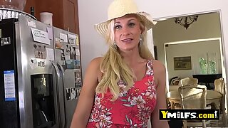 Hot blonde milf is seduced into pulling her dress up to get banged