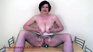 Busty slut with an awesome hairy pussy
