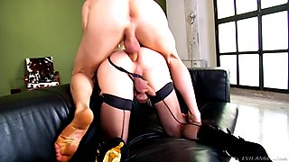 Lusty blonde tranny and nasty man boning