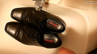 Piss in men's dress shoe