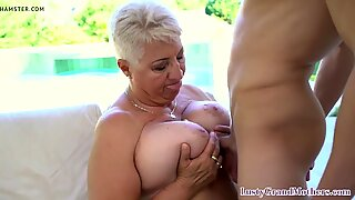 Busty gilf seduces young guy into kinky sex
