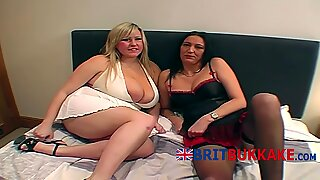 Big titted mature babes get caught in a serious cock storm