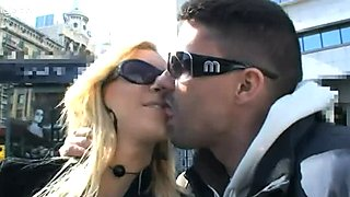 Nasty street bitch Angelina Love in fishnet pantyhose blowing cock