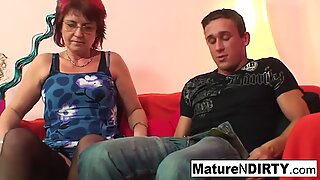 Punky pierced granny loves to suck and fuck