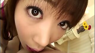 Horny Aiuchi Shiori in her bedroom giving her newest fuck buddy a sloppy blowjob.