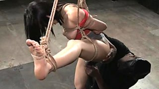 BBC fucks stunning suspended girl with vibrator
