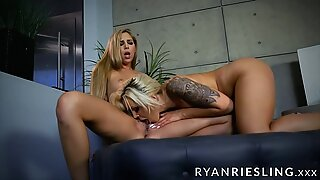 Ryan Riesling and Nina Elle scissoring until orgasming