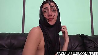 Hard doggy & water torture for Arab cunt