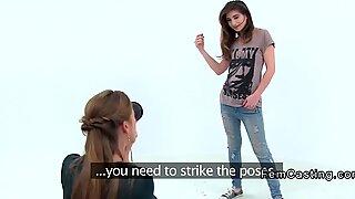Sexy female agent shoots petite model