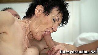 Brunette wrinkly granny