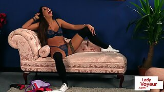 Gorgeous milf in lingerie dominates over sub