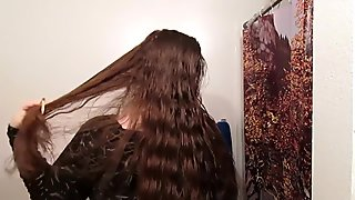 Hair Journal Combing Long Curly Strawberry Blonde Hair - Week One (ASMR)