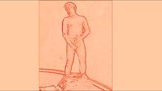 Pants down wanking - die Hose h  ngt auf den Kn  cheln, der Schwanz steht
