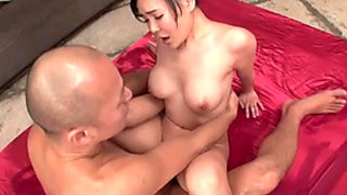 Busty Miu Watanabe loves to be on top and gives great blowjob