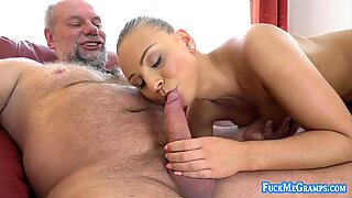 Playful fresh blonde model getting off on mature cock
