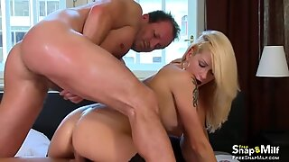 Blonde beauty DP-ed in mmf threesome