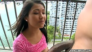 Romantic chick Alexis Glory sucks a tasty lollicock on the balcony