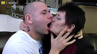 Granny fucking and sucking hard young boy's cock