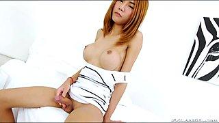 Skinny ladyboy masturbates her hard cock