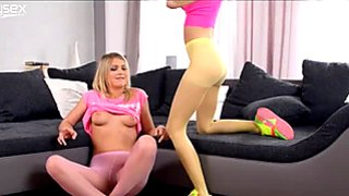 Two playful teens finger fuck each others slits through the pantyhose