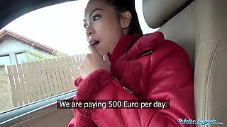 Public Agent Big fun bags Thai lady loves to inhale and screw cock