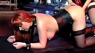 Redhead Slave In Corset Whipped Fucked With Strapon In Doggy By Mistress In The Dungeon