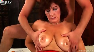 Greedy for young fresh cock Alma giving blowjob