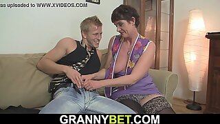 Hairy 60 years old woman in stockings