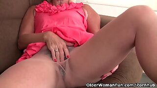 Belgium grandmother luvs draining in pantyhose