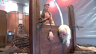 Bright sexy blondie is put into the pillory and gets brutally fucked from behind