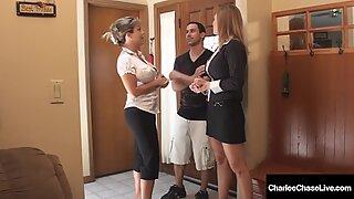 Dick Sucking Milfs Charlee Chase & Amber Lynn Bach Suck & Milk A Hard Cock!