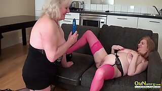 OldNannY Two Mature Lesbians Stroking Each Other