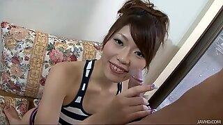 Japanese slut Arisa on her knees sucking that dick like mad