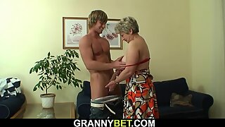 Lonely old granny rides stranger's big cock