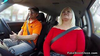 Huge tits mature bangs instructor in car