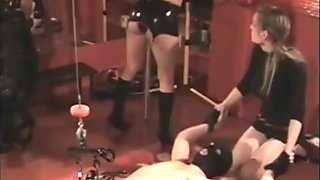 Dominatrix pulls balls of slave till they almost got lose