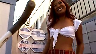 Redhead Thai girl Lyla Lei poses on cam and blows a hard black prick
