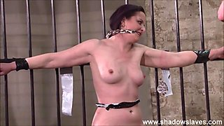 Slave Caroline Pierces frontal whipping and tied dungeon bondage of spanked fetish model in hardcore bdsm