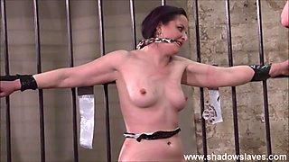 Slave Caroline Pierces frontal whipping and tied dungeon bondage of spanked fetish model in hardcore bdsm