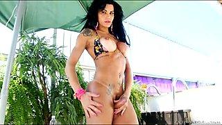 Busty latin tgirl jerks off til she cums