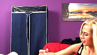 CFNM voyeur babe facialized after wanking